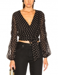 Mayi Polka Dot Wrap Top in Black