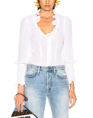 Mayi white women transparent blouse
