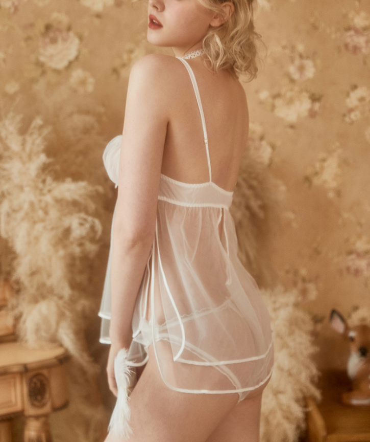 White mesh transparent mini dress sexy set
