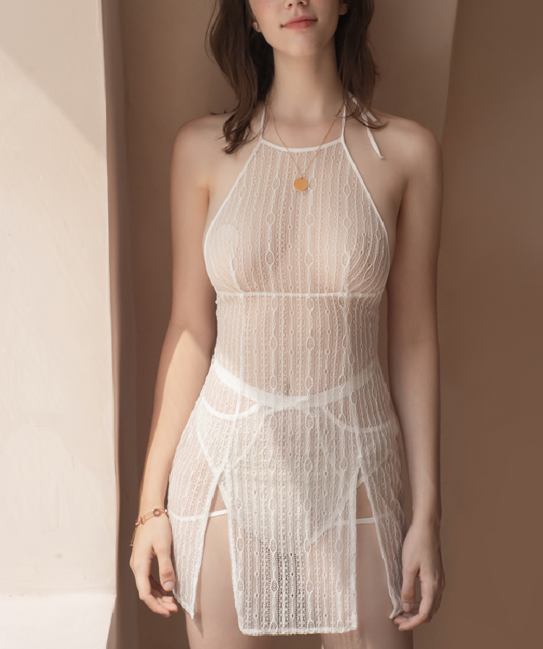French mesh split sexy dress set