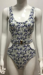 Floral belted one piece