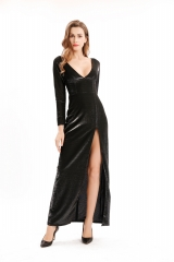 Long Sleeve Black/Silver Metallic Party Dress