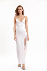 side slit V-neck party dress