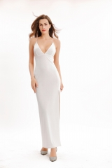 Plunge neckline maxi party dress