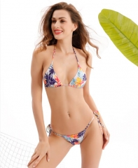 Triangle string printed bikini