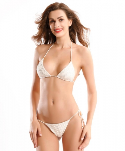 Sequin trim string bikini