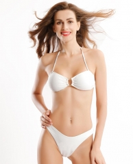 U neckline high cut bikini