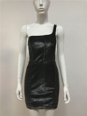 One Shoulder Black/Silver Metallic Mini Dress