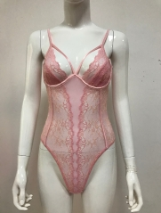 Pink lace and mesh women lingerie bodysuit
