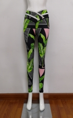 Tropical printed yoga pants