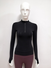 Front zip long sleeve tight yoga top