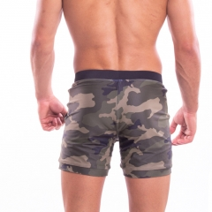 Camo square cut close fitting swimming shorts