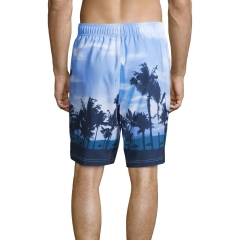 Quick dry dusk coconut tree print men swimming trunks