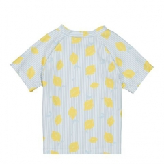 Lemon stripe print short sleeve top and solid color ruffle bottom