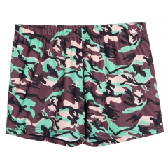 Green camouflage close fitting men swimming shorts