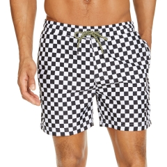 Quick dry stretch little flower print men swimming trunks