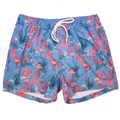 Flamingo leaf print close fitting swim shorts