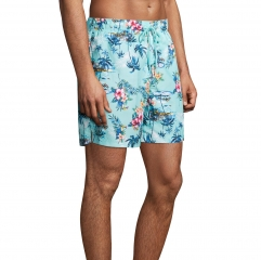 Coconut flower print novelty men swim split shorts