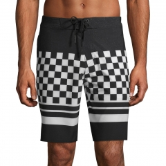 Checkerboard print men swim wear trunks
